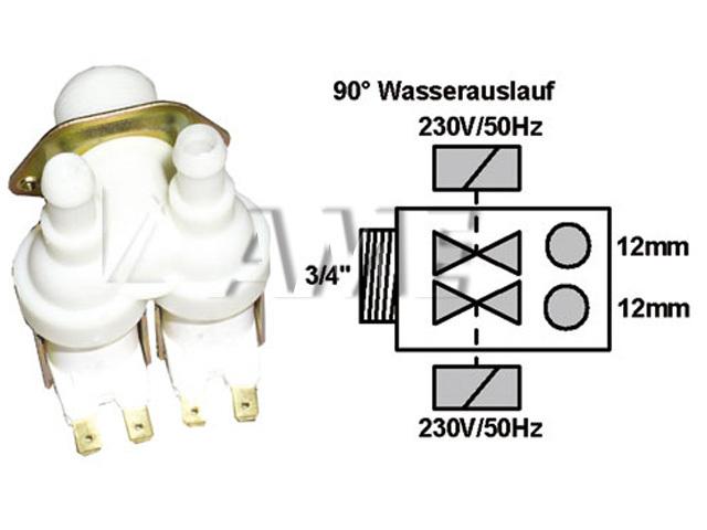 ventil napouštěcí univerzální 2xcestný (90 st.)