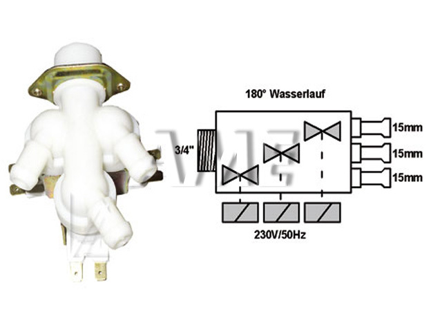 ventil napouštěcí univerzální 3xcestný (180 st.) přímý 2
