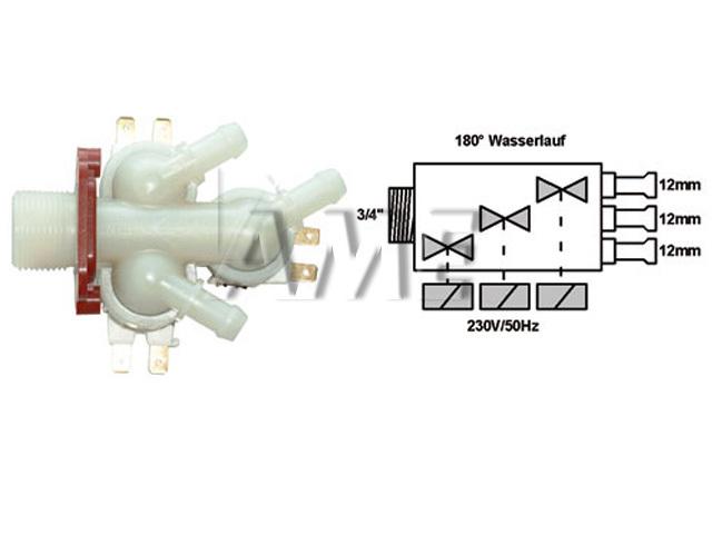 ventil napouštěcí univerzální 3xcestný (180 st.) přímý