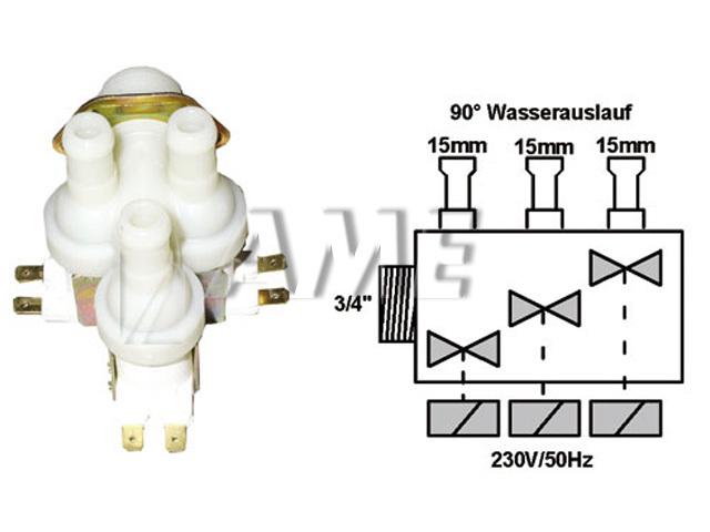 ventil napouštěcí univerzální 3xcestný (90 st.) 2